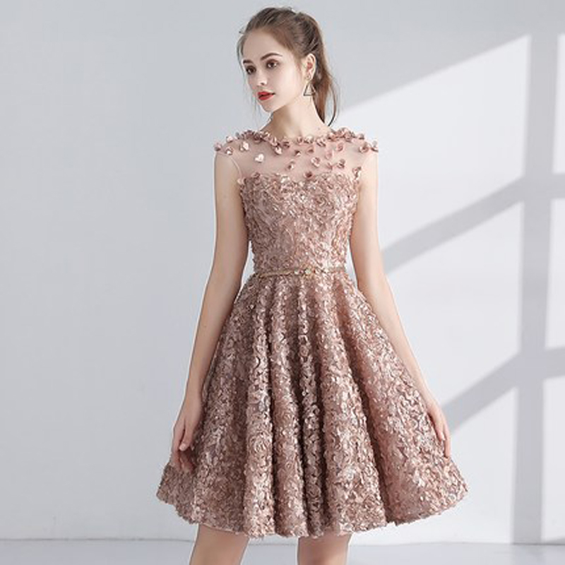 Cocktail Dress 2019 Party Sleeveless Appliques Flower Women Party Dresses Fashion Designer Elegant Short Cocktail Gowns LX1063