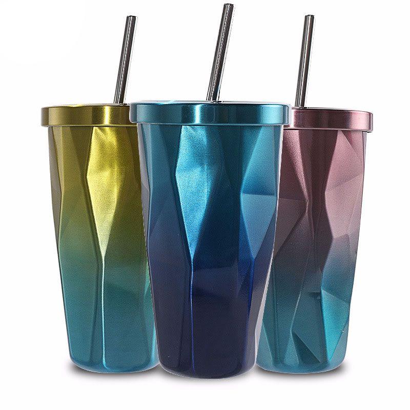 Стакан из нержавеющей стали с соломинкой-горячие и холодные Двойные Стенки Чашки для питья кофейные кружки 500 мл неровный алмаз с крышкой(синий