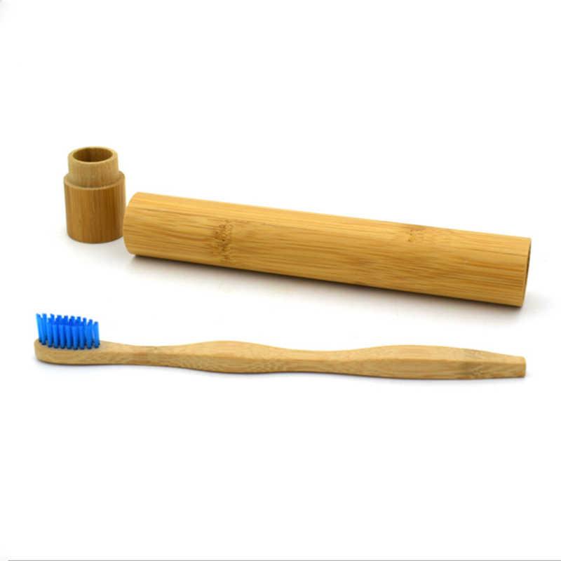 1pc במבוק צינור ידידותי לסביבה טבעי במבוק מברשת שיניים נסיעות מקרה טבעי אורגני מתכלה ו 1pcs במבוק מברשת שיניים