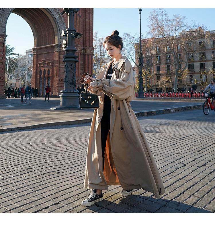 Hc5c42a18ab8645d5a9a2b4f7751ebda7C Korean Style Loose Oversized X-Long Women's Trench Coat Double-Breasted Belted Lady Cloak Windbreaker Spring Fall Outerwear Grey