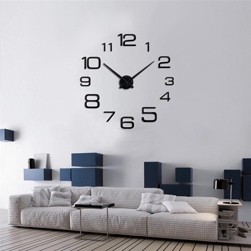 DIY Wall Clock Creative Digital Acrylic Mirror Wall Clock Living Room Wall Decor Quartz Needle Home Decor Relogio De Parede JJ30