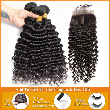 deep wave bundles with closure Peruvian Brazilian human hair weave bundles with closure deep curly hair bundles with closure image