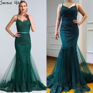 Image 3 - Serene Hill Green Sexy Sweetheart Lace Crystal Evening Dress 2020 Dubai Luxury Mermaid Formal Party Gown Real Photo CLA60712