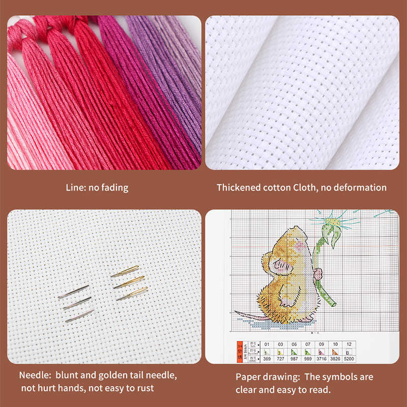 مجموعة تطريز ملونة من قماش الغواش عليها صورة قطة 14ct 11ct مجموعة تطريز تطريز بالإبرة لوحة تزيين منزلية