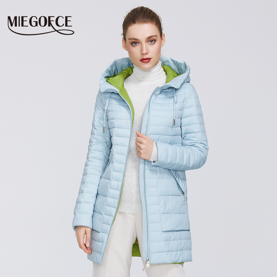 MIEGOFCE 2020 New Spring Collection Women's Cotton Jacket Medium Long Resistant Collar Parka With A Hood Zipper Women's Coat