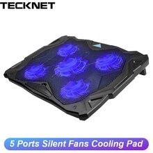 TeckNet dizüstü soğutucusu pedi 12 17 inç 5 hayranları ile 1500RPM 2 USB portu oyun soğutma pedi slayt dayanıklı dizüstü soğutma fanı