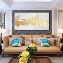 Home decor Hand painted Abstract Oil painting artwork golden pictures Wall Art picture on Canvas wall paintings for living room