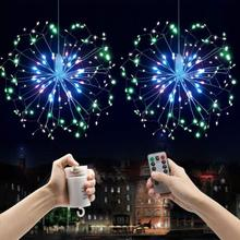 2019 New Year Christmas Garland DIY Firework LED String Hanging Starburst Fairy Strip Light Wedding Party Home Store Decor