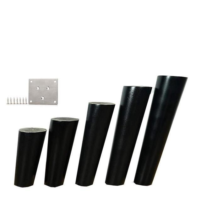 4 unids/lote muebles con patas de madera cónicas oblicuas muebles de madera confiable patas de armarios patas de sofá de mesa negro con placa de Metal B528