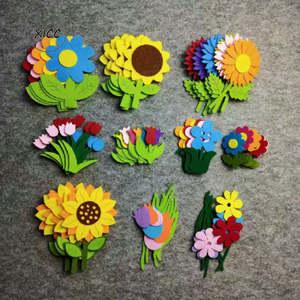 Wall-Stickers Flower Tulips Felt-Fabric Smile-Face Handmade Diy-Material Kindergarten