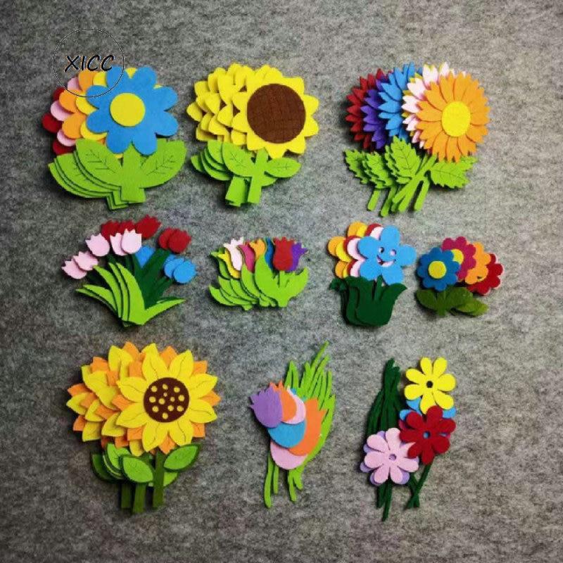 XICC Non-woven Felt Fabric Flower Wall Stickers Tulips Sun Flower Smile Face Kindergarten School Classroom Handmade DIY Material