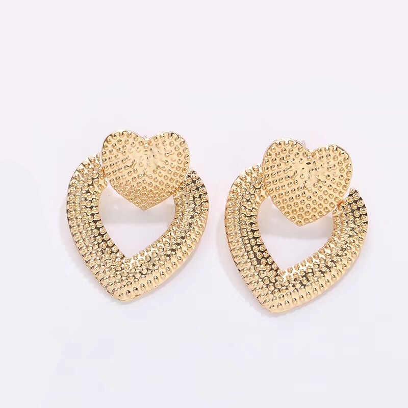 Ufavoirte ใหม่ 2019 Vintage ต่างหูทองสี Geometric statement หัวใจโลหะ earing แขวนแฟชั่นเครื่องประดับ