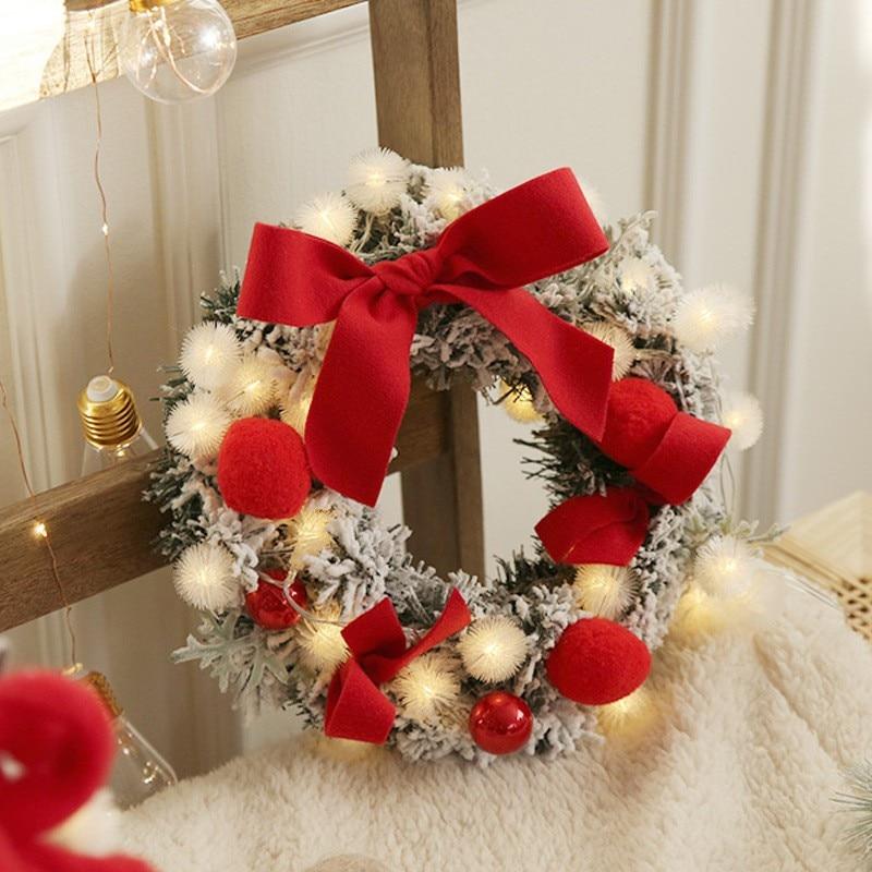 Christmas Wreath Handmade Rattan Pendant Garland Shopping Christmas Tree Door Decoration Wreath Guirnalda Navidad String Light