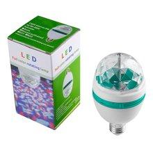 Светодиодный полноцветный вращающаяся диско лампа автоматический Multi меняется 3-ваттный партии шарик E27 основание для домашних вечеринок стадии