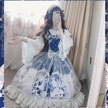 Снежный ангел, милое женское платье в стиле Лолиты, JSK, платье без рукавов, милое платье принцессы из пряжи и тюля с бантиками, цельный Дворцовый стиль