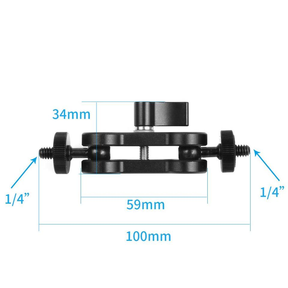 Yuehuam Clamp Mount with Ball Head Mount Hot Shoe Adapter Ball Head Clamp Ball Mount Clamp Magic Arm Clamp w// 1//4-20 Thread for GPS Phone Video Light