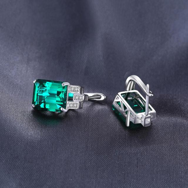 8ct Simulated Nano Emerald Hoop Earrings 925 Sterling Silver Earrings For Women Gemstones Korean Earings Fashion Jewelry 2019 3
