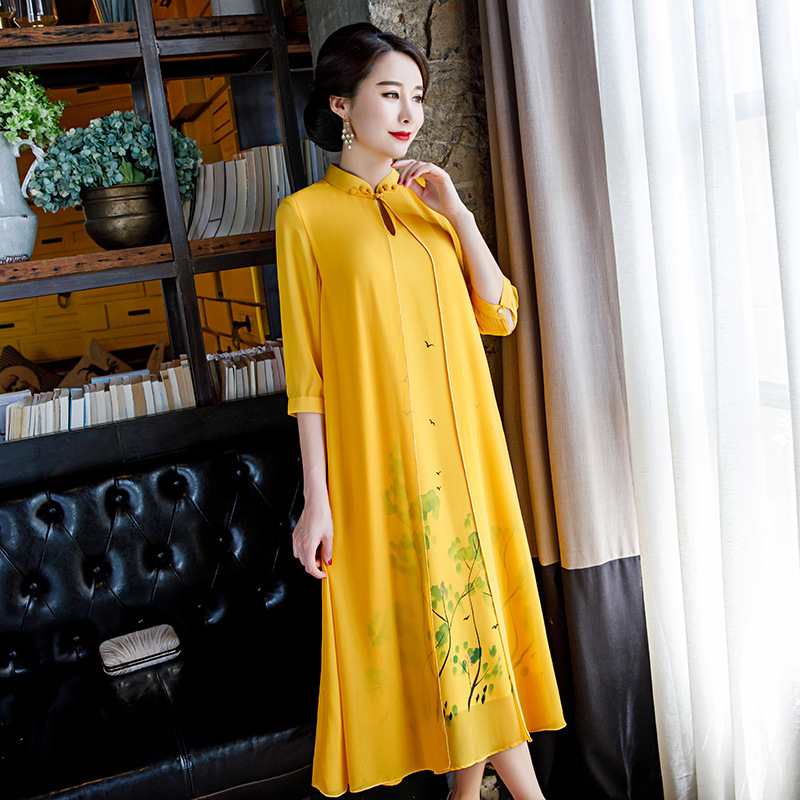 2019 Summer New Chiffon Dress Fake Two-piece Young Cheongsam Skirt Daily Retro Modified Skirt Elegant Dress Women  Chiffon