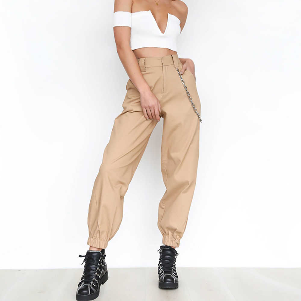 Pantalones Cargo De Cintura Alta Para Mujer Largo Y Suelto Pantalon Deportivo Estilo Safari Punk Hip Hop Pantalones Y Pantalones Capri Aliexpress