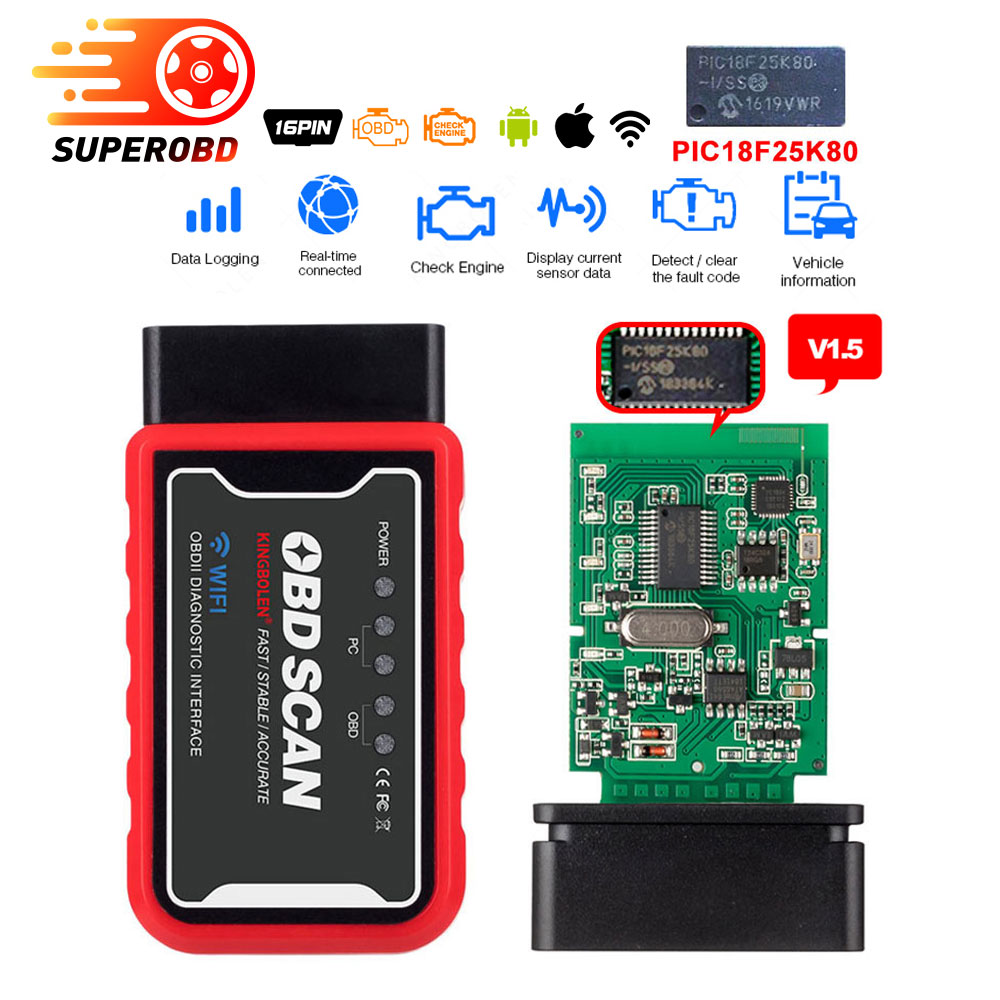 New Elm327 V1 5 Bluetooth WIFI OBD2 PIC18F25K80 Chip Code Reader ELM 327 OBDII V1 5 Diagnostic Tool Diesel petrol ON Android IOS