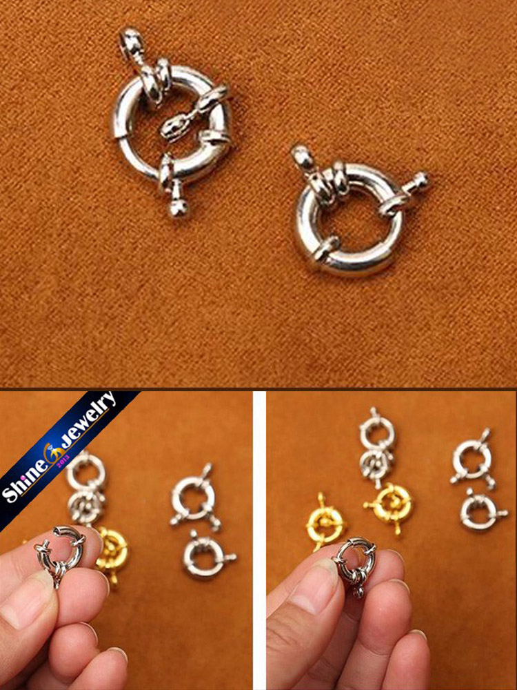 OPEN JUMP RING 3 PCS 24k Gold Plated  SPRING CLASP LOCK 5.0 MM