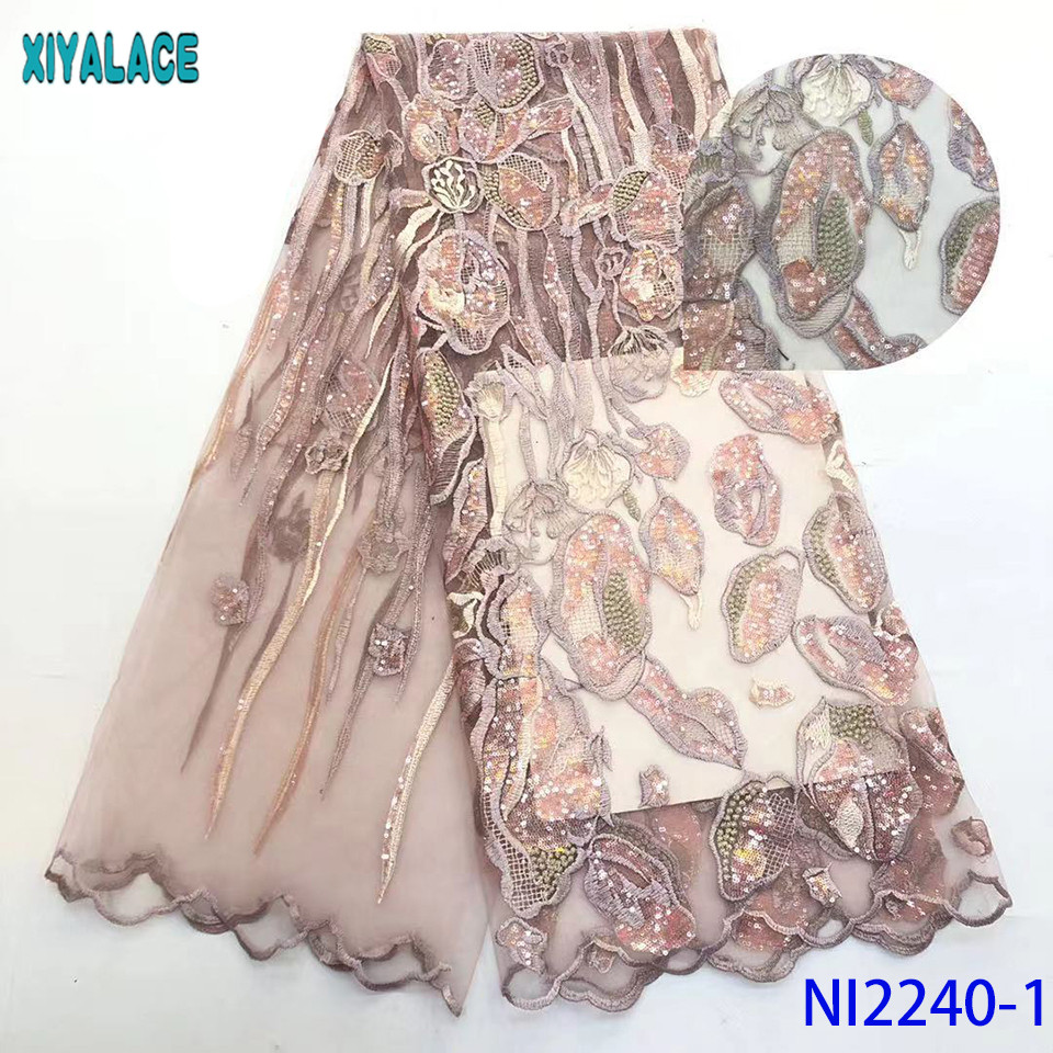 Nigerian Sequence Lace Fabrics Latest Asoebi Lace African Lace Fabric French Embroidery Net  Laces For Dresses KSNI2240-1