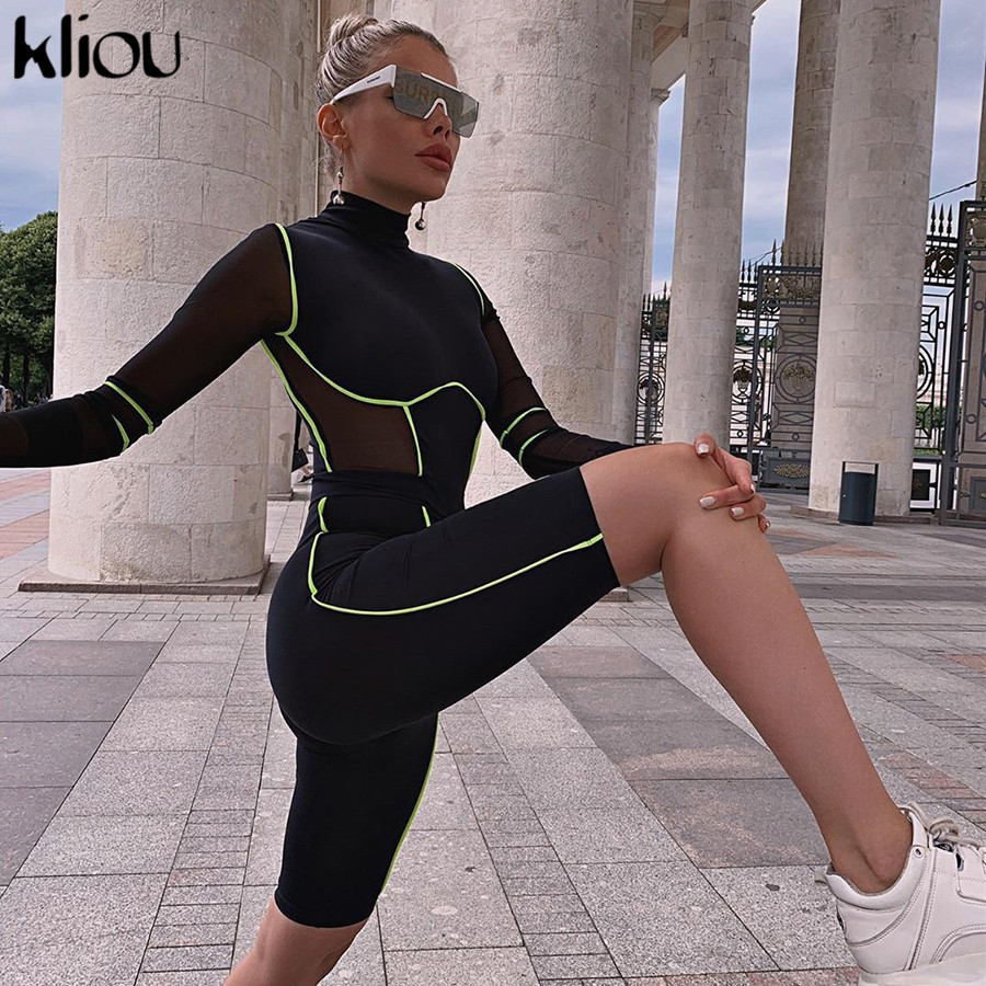 Kliou Black Skinny Playsuit Women 2019 Zipper Turtleneck Long Sleeve Bodysuit Stripe Mesh Playsuits Sexy Rompers Ladies Jumpsuit