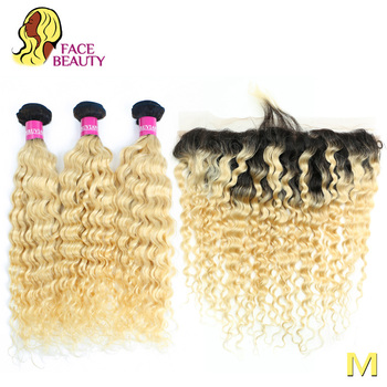 Mèches péruviennes Remy naturelles bouclées avec Lace Frontal Closure, cheveux naturels Remy, visage beauty, 1B blond 613, racines foncées, 2/3/4