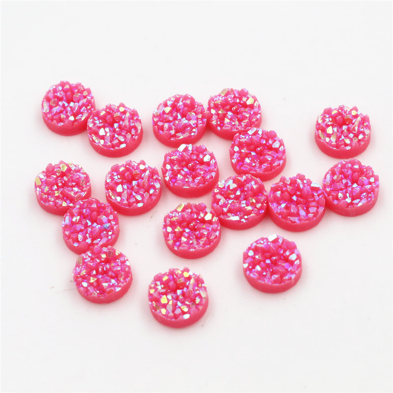New Fashion 8mm 10mm 40pcs Watermelon  AB Colors Natural Ore Style Flat Back Resin Cabochons For Bracelet Earrings Accessories