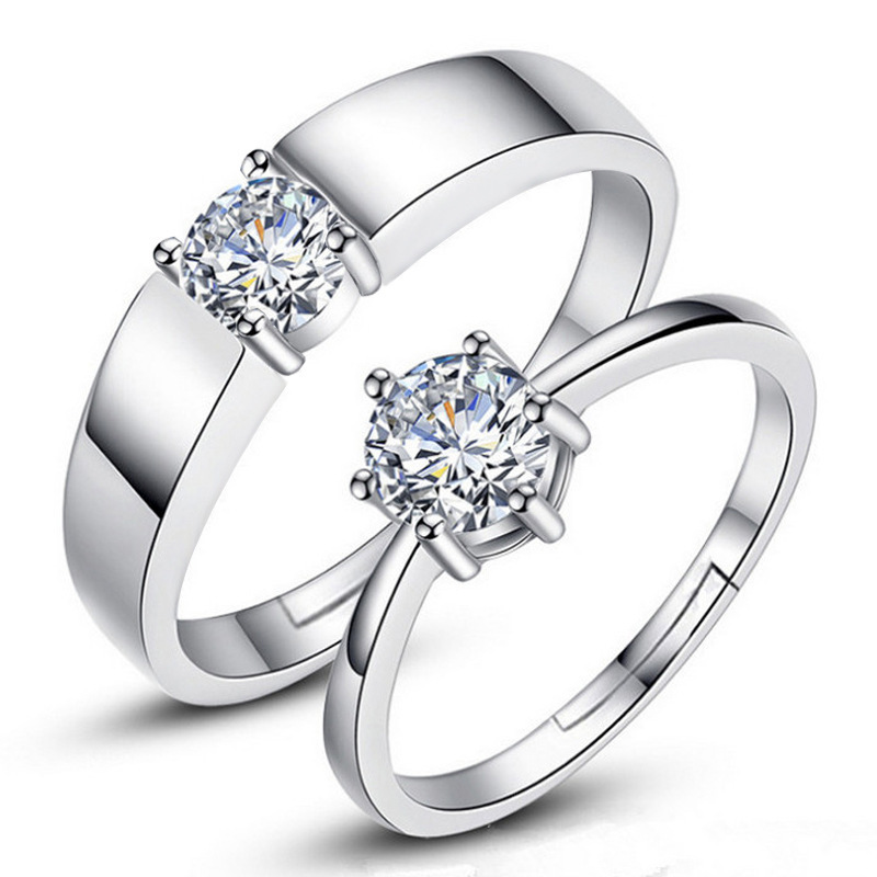 CHAMSS Korean Single Diamond Open Couple Wedding Ring Simple Fashion Female Valentine's Day Gift