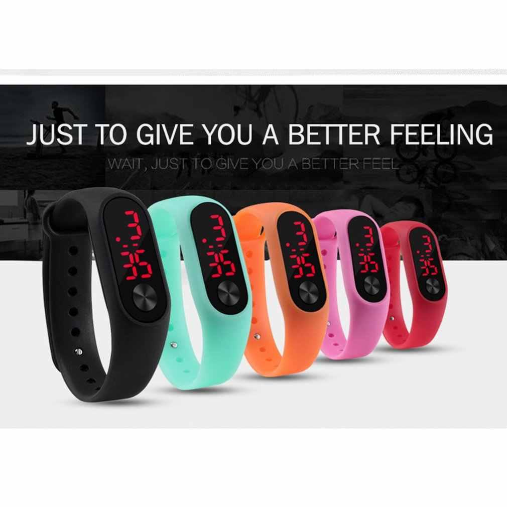 Mężczyźni kobiety Casual sportowe bransoletki z zegarkiem biały LED elektroniczny cyfrowy cukierki kolor silikonowy zegarek na rękę dla dzieci dzieci