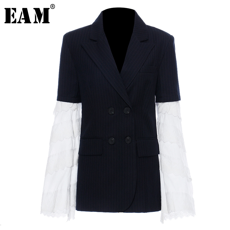 [EAM]  Women Blue Lace Split Joint Striped Blazer New Lapel Long Sleeve Loose Fit  Jacket Fashion Tide Spring Autumn 2019 1H851
