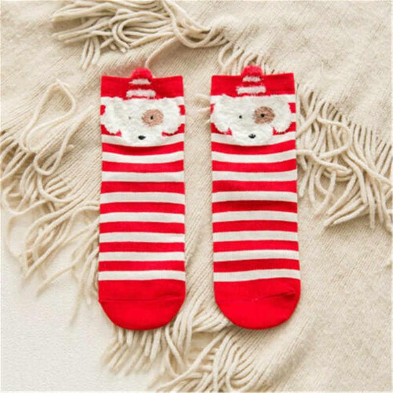 2019 Christmas Red Baby Girls Socks Cotton Winter Autumn Warm Socks Children Striped Terry Elk Santa Claus Bear Baby Boys Socks