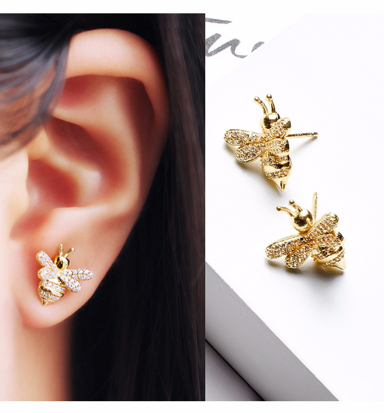 925 sterling silver earrings with temperament exaggerated cute golden bee earrings fashion rhinestones earrings for female