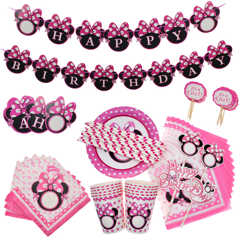 Minnie Mouse Plates Cups Napkins Birthday Party Supplies Kids Disposable Tableware Wedding Decoration Baby Shower Party Favors