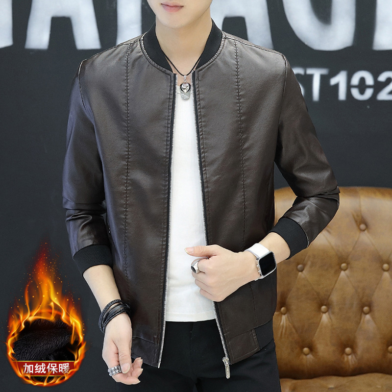 Autumn And Winter Men Baseball Collar Plus Velvet PU Leather Men's Casual Coat Fashion Man Fashion Warm Leather Jacket Tops Men'