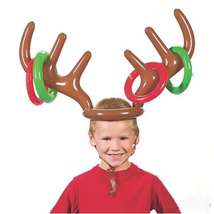 Inflatable antlers balloon with ring Christmas birthday party ring throw party game headband toy gift decoration accessories(China)