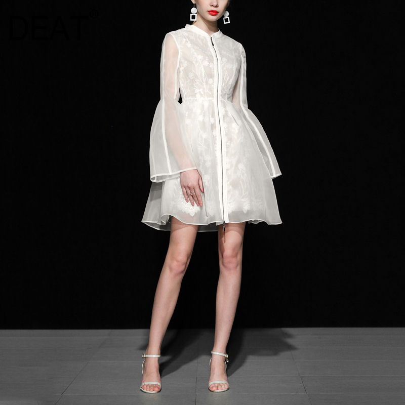 DEAT 2020 New Summer Lace Dress WF21600L Embroidery Organza High Quality Flare Sleeves Waist Adjust Zipper Dress
