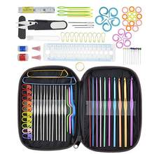 100pcs Aluminum Crochet Hooks Knitting Needles Set Kit Unique Design Strong Practicability with Box Sewing Accessory Tool(China)