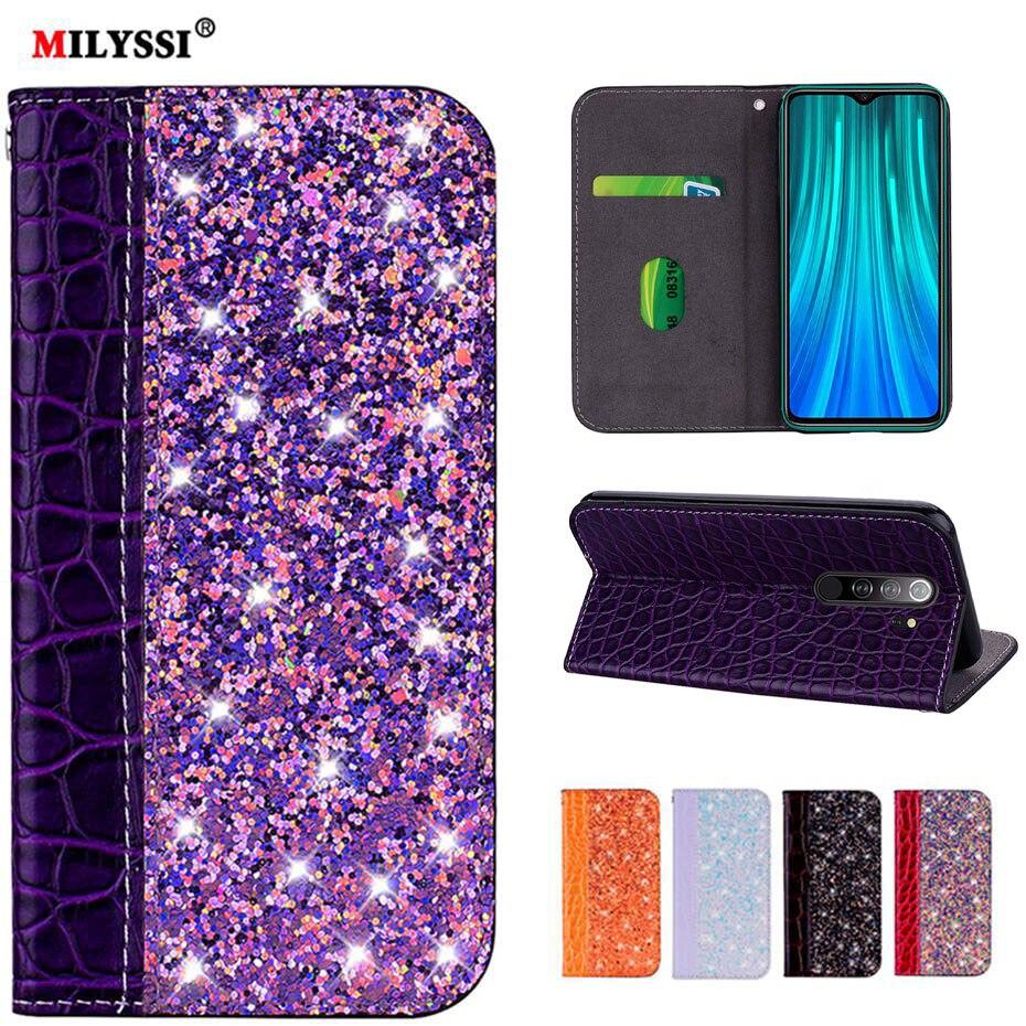 Glittering Leather Flip Case for Xiaomi A3 6X 5X 8 Lite CC9 E A1 A2 Redmi K20 7A 7 S2 6 4X Note 8 5 5A 6 7 Pro Prime Phone Case