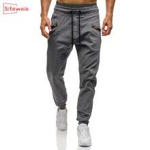 Siteweie novos homens sweatpants moda carga calças de streetwear japonês esportes casuais algodão joggers calças masculinas completa g492