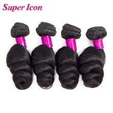 Hair-Extensions Human-Hair-Bundles Natural-Weave Loose-Wave Deals Super-Icon 3/4pcs