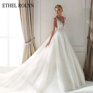 Image 1 - ETHEL ROLYN Sexy dekolt w szpic Vintage suknia ślubna 2020 romantyczny zroszony aplikacje A Line suknie ślubne z tiulu Vestido De Noiva