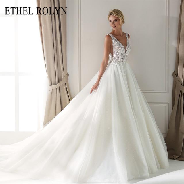 ETHEL ROLYN Sexy dekolt w szpic Vintage suknia ślubna 2020 romantyczny zroszony aplikacje A Line suknie ślubne z tiulu Vestido De Noiva
