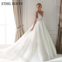 ETHEL ROLYN เซ็กซี่ V คอ Backles วินเทจงานแต่งงานโรแมนติก 2020 ลูกปัด Appliques A Line Tulle งานแต่งงาน Gowns Vestido De Noiva