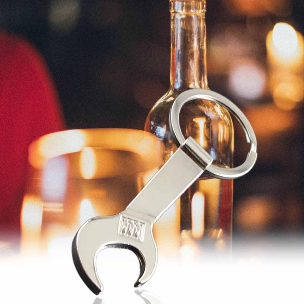 จำลองประแจขนาดเล็กขวดเปิดประแจจำลองประแจแบบพกพาเกรด Movable พวงกุญแจหัวเข็มขัดประแจ