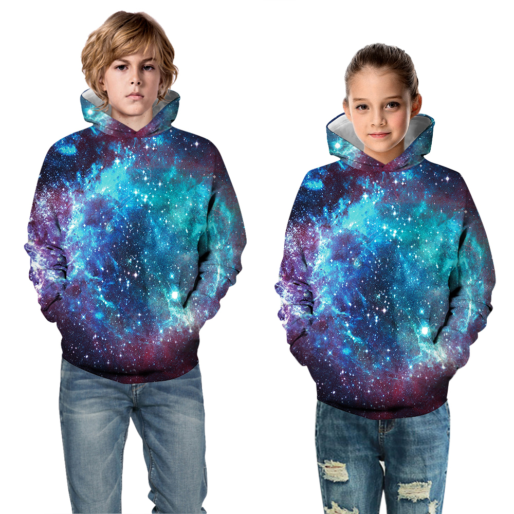 2019 Starry Sky 3D Print Teen Boys Hoodies Children's Sweatshirt For Girls Pullover Warm Kids Hoodies Baby Boy Clothes Outwear