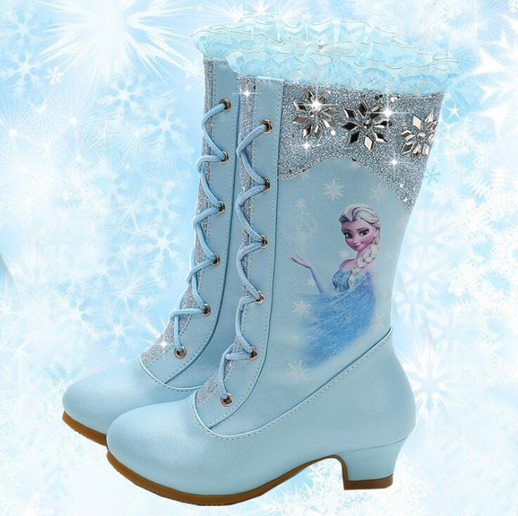 New Boots Elsa Anna Boot Child Leather Fashion Girl High Shoes Kids Winter Snow Boot Children Christmas Gift Party Mid-calf Shoe
