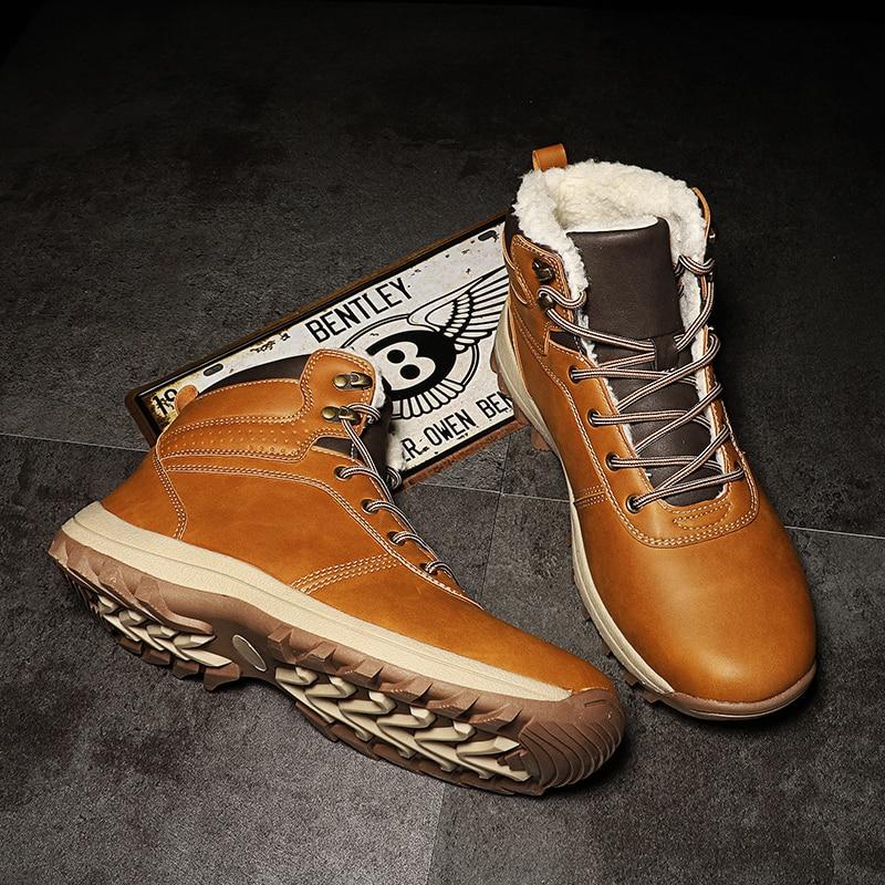 DEKABR Winter Warm Men Boots Genuine Leather Fur Plus Men Snow Boots Handmade Waterproof Working Ankle Boots High Top Men Shoes 3