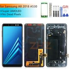 لسامسونج غالاكسي A8 2018 A530 LCD تعمل باللمس محول الأرقام A530F A530DS A530N الجمعية استبدال لسامسونج A530 LCD